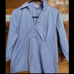 Light blue maternity blouse